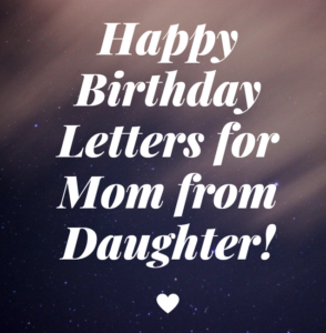 Letter to Mon from daughter on her birthday